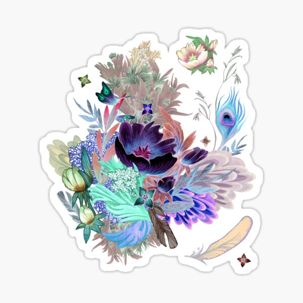 floral pattern with Althaea Officinalis (inverted) Sticker