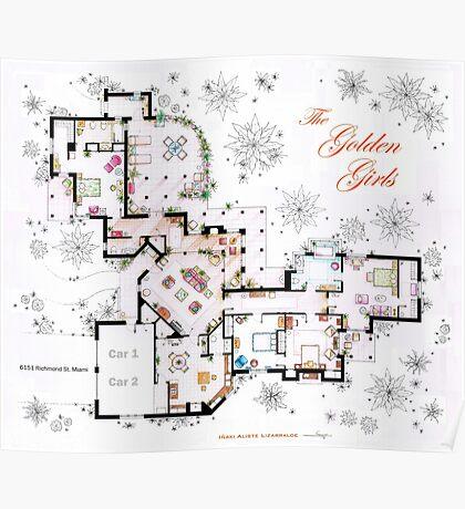 The Golden Girls House floorplan v.1 Poster