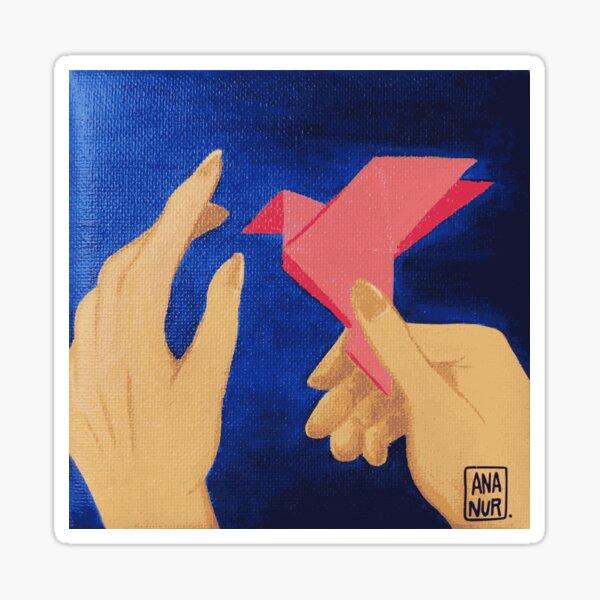 Reproduction peinture acrylique origami Sticker