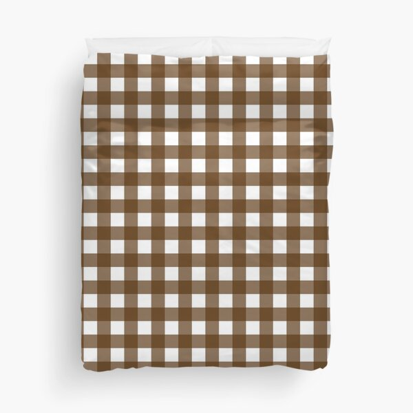 Chocolate Brown and White Plaid Duvet Cover