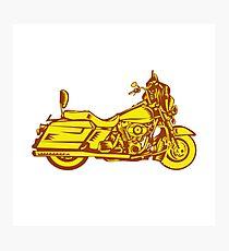 Motorcycle Motorbike Woodcut Photographic Print