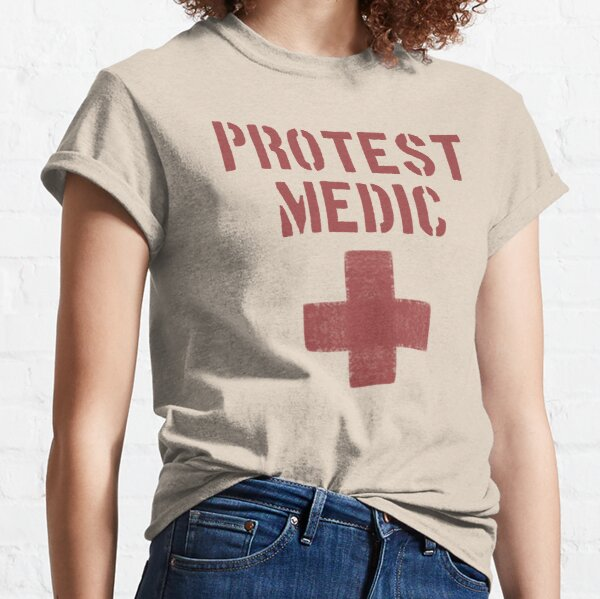 Protest Medic Red Cross Stencil Graphic Classic T-Shirt