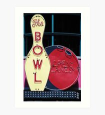 Vintage neon sign for a bowling alley Art Print