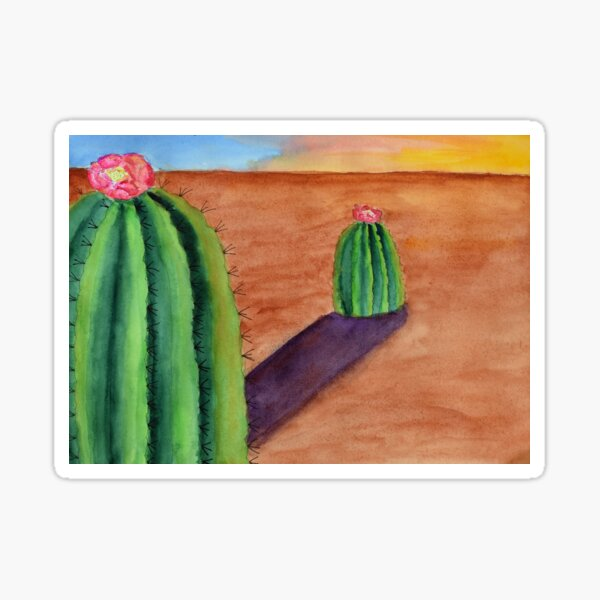 Cactus Buddies with Sunset Shadows Sticker