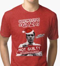 GAZA XMAS TEE- #FREEWORLBOSS Tri-blend T-Shirt
