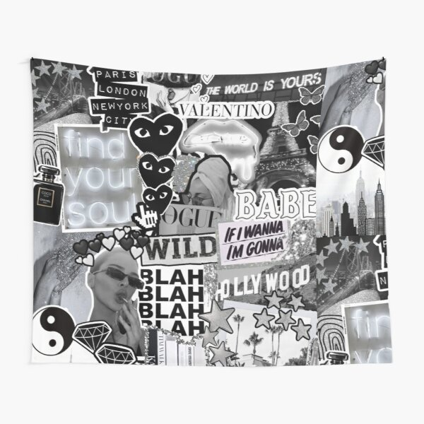 Black, White, and Silver Aesthetic Collage Tapestry