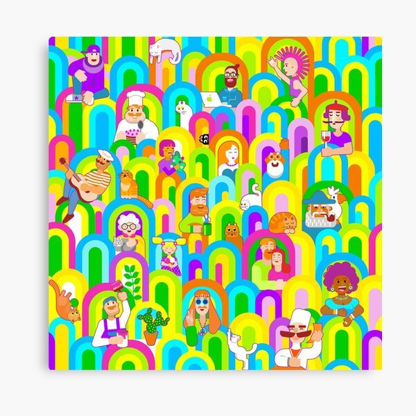Vector people in the windows Canvas Print