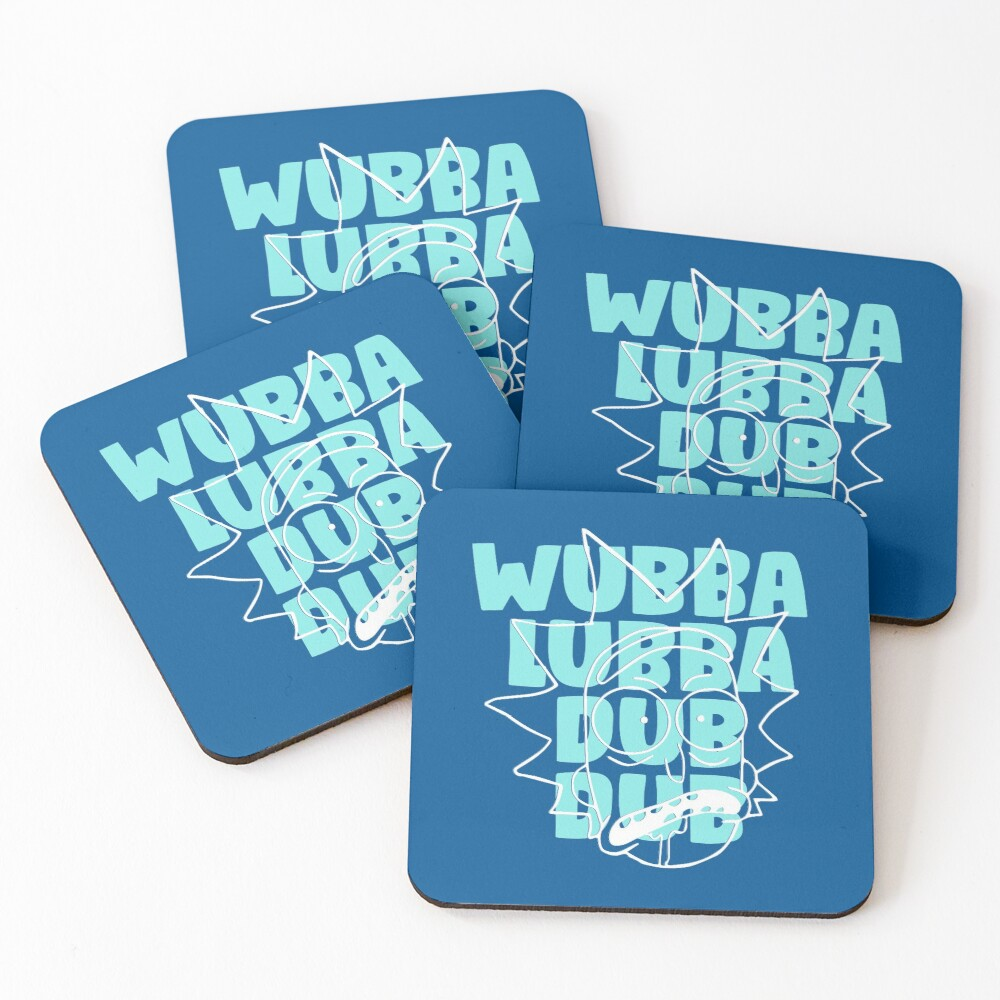 Wubba Lubba Dub Dub - Abstract Awesome Line Art Coasters (Set of 4)