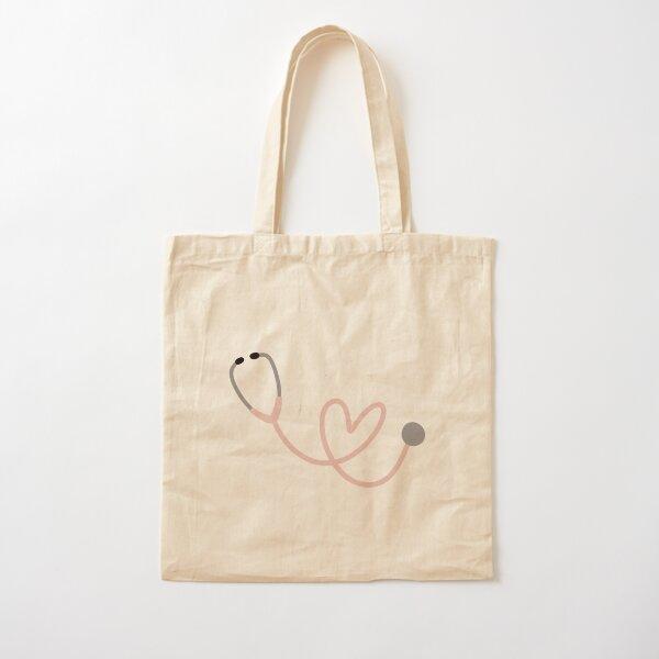 Estetoscopio de corazón rosa Bolsa de algodón