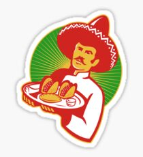 mexican chef serving taco burrito empanada retro Sticker