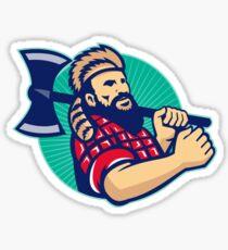 Lumberjack Logger With Axe Retro Sticker