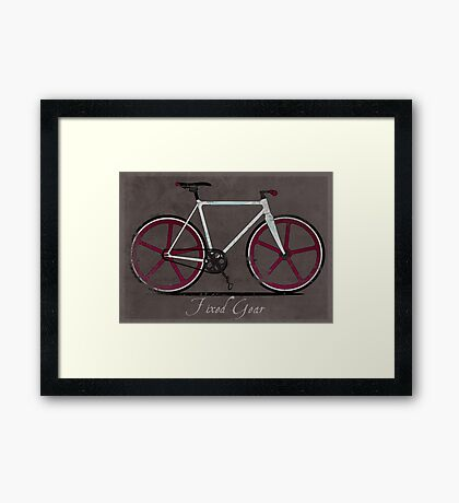 Fixed Gear White Bicycle Framed Print