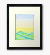 Hand-Painted Green Hills Blue Yellow Sky Watercolor Landscape Framed Print