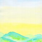 Hand-Painted Green Hills Blue Yellow Sky Watercolor Landscape by Beverly Claire Kaiya