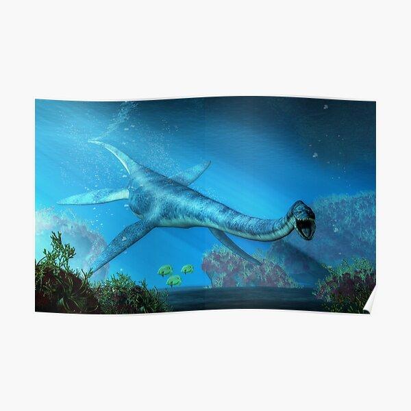 Elasmosaurus Swimming Towards You Poster