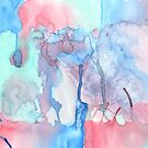 Hand-Painted Abstract Watercolor Green Red Blue Painting by Beverly Claire Kaiya