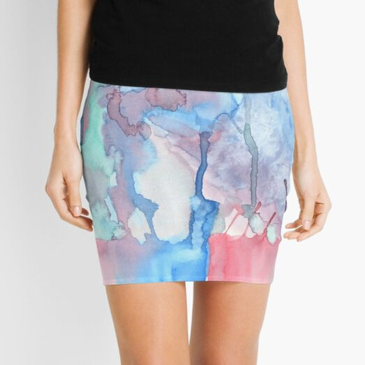 Hand-Painted Abstract Watercolor Green Red Blue Painting Mini Skirt