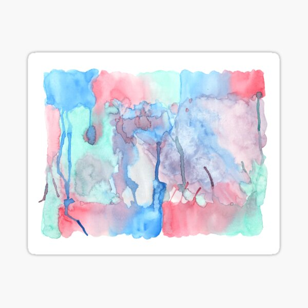 Hand-Painted Abstract Watercolor Green Red Blue Painting Glossy Sticker