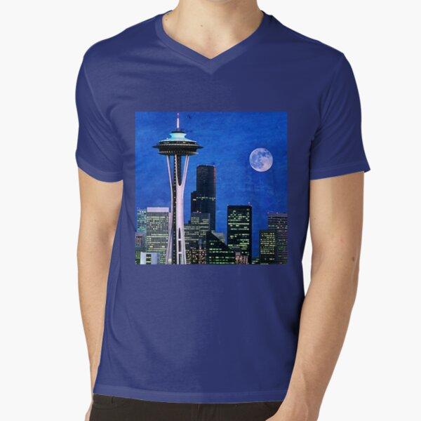 Blue Seattle Space Needle V-Neck T-Shirt