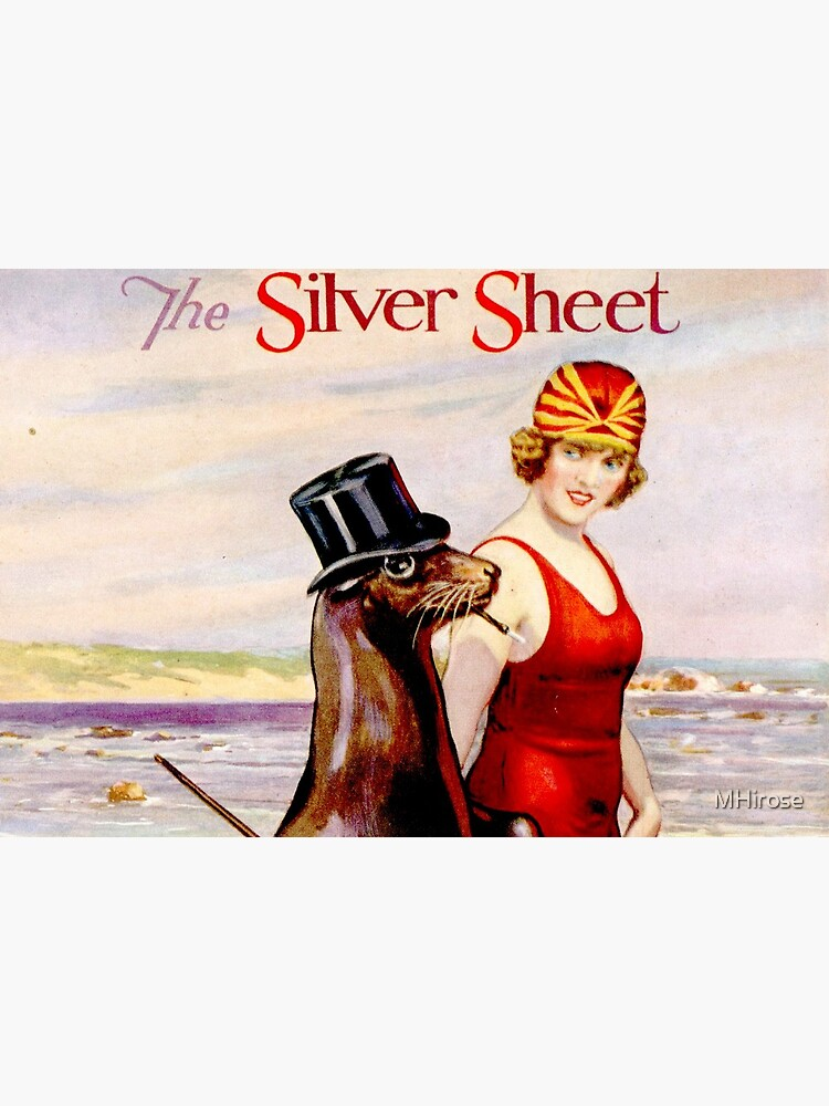 Silver Sheet Galloping Fish Antique Magazine Bathing Beauty With Top Hat Wearing Sea Lion  by MHirose