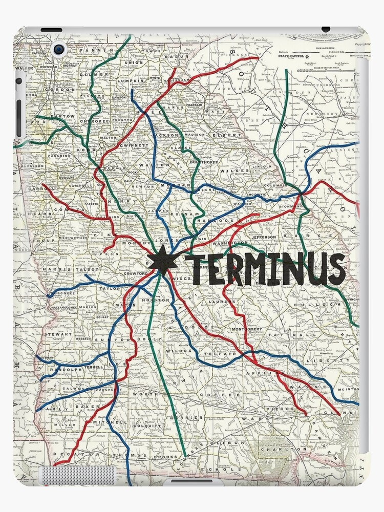 'The Walking Dead - Terminus Map' iPad Case/Skin by Habubita on pillars of eternity map, destiny map, the forest map, thief map, fallen earth map, canyonlands national park map, moab utah map, dark souls map, total eclipse map, project zomboid map,