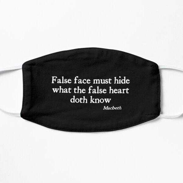False Face Doth Hide White on Black  Macbeth Shakespeare Mask Flat Mask
