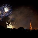 Norwich Fireworks Cityscape by Nick Jermy