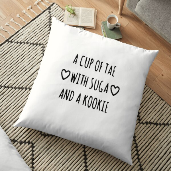 BTS A Cup of Tae with Suga and T-Shirt Kookie Unisex Floor Pillow