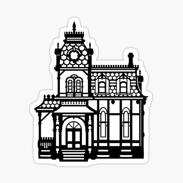 Victorian House - black & white Sticker