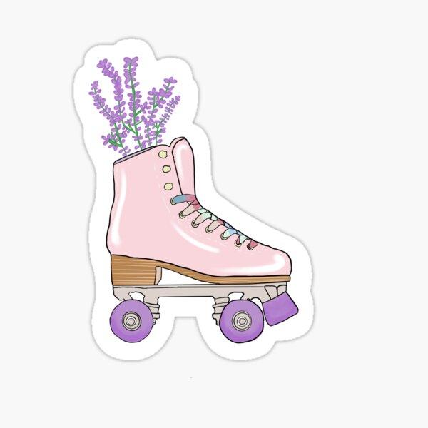 Aesthetic pink lavender pastel roller skate Sticker