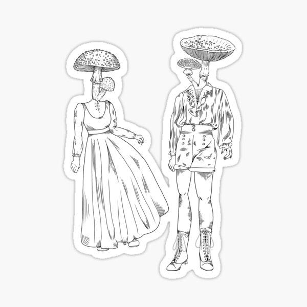 Mushroom dame and gentleman Sticker