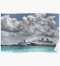 Cruise Ships at the Prince George Wharf Port in Nassau, The Bahamas Poster
