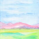 Hand-Painted Watercolor Pink Mountains Blue Sky Yellow Green Field Landscape by Beverly Claire Kaiya