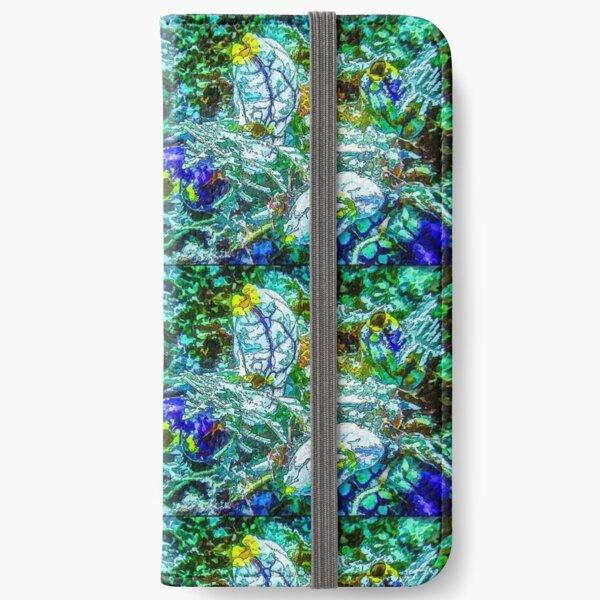 Sea Squirt Cluster In Aqua Blue - Mixed Media DiveArt iPhone Wallet