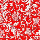 White And Red Vintage Floral Damask Pattern by artonwear