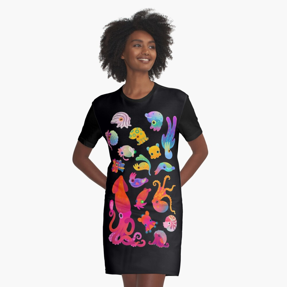 Cephalopod Graphic T-Shirt Dress