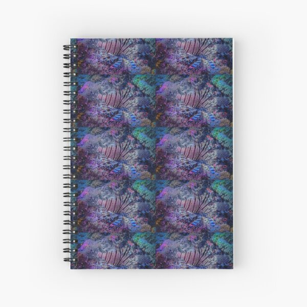 Lionfish Hunting In Blue - Mixed Media DiveArt Spiral Notebook