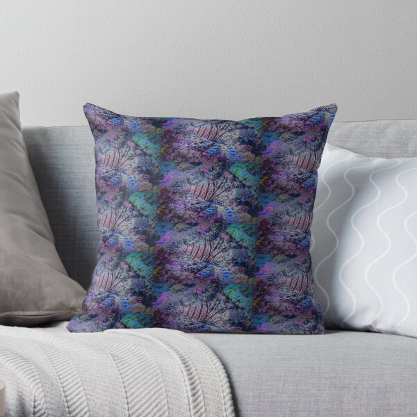 Lionfish Hunting In Blue - Mixed Media DiveArt Throw Pillow