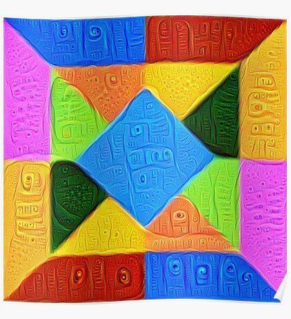 DeepDream Color Squares Visual Areas 5x5K v1447926834 Poster