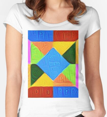 DeepDream Color Squares Visual Areas 5x5K v1447926834 Fitted Scoop T-Shirt