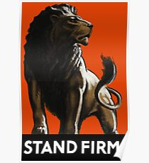 Stand Firm Lion -- WW2 Propaganda Poster