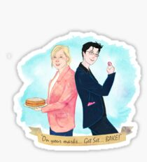 "Mel & Sue. ""On your mark, Get Set, BAKE!"" Sticker"