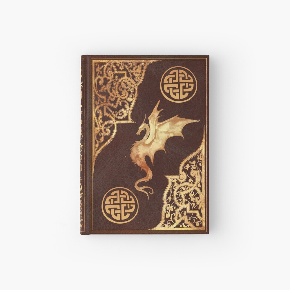 Old dragon fantasy book red Hardcover Journal