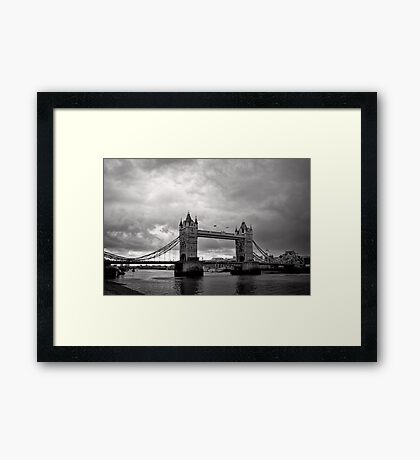 A brewing storm - Tower Bridge - London - Britain Framed Print