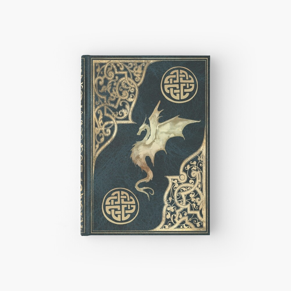 Old dragon fantasy book blue Hardcover Journal