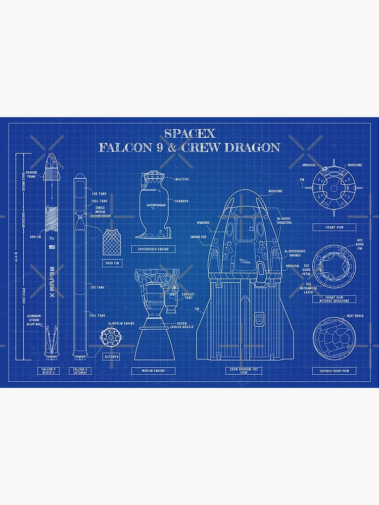 SpaceX: Falcon 9 and Crew Dragon. (Blueprint -English) by BGALAXY