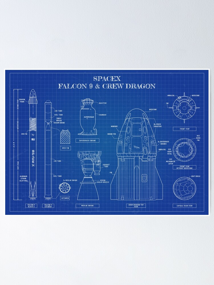 Alternate view of SpaceX: Falcon 9 and Crew Dragon. (Blueprint -English) Poster