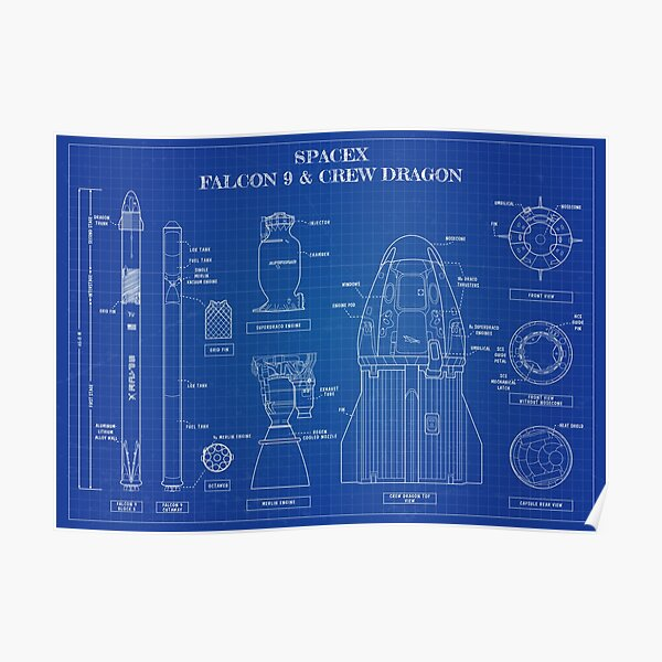 SpaceX: Falcon 9 and Crew Dragon. (Blueprint -English) Poster
