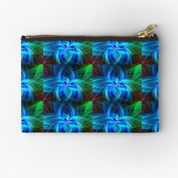 Abstract Swirl Green Clam - Mixed Media DiveArt Zipper Pouch