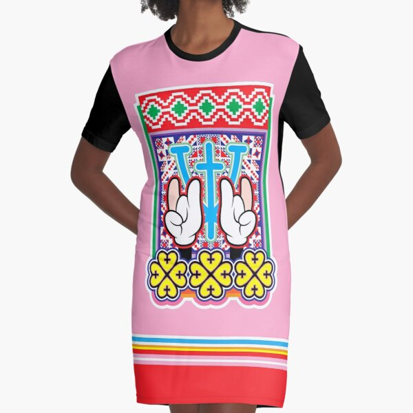 Warriors, Cartoon Hands — Sign of The Horns with Four Leaf Clover and Folklore Symbols Graphic T-Shirt Dress